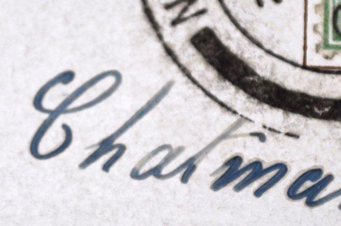Detail of Vintage Post Card Cancelled Stamp